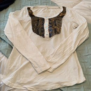 Free People long sleeve T copper sequins